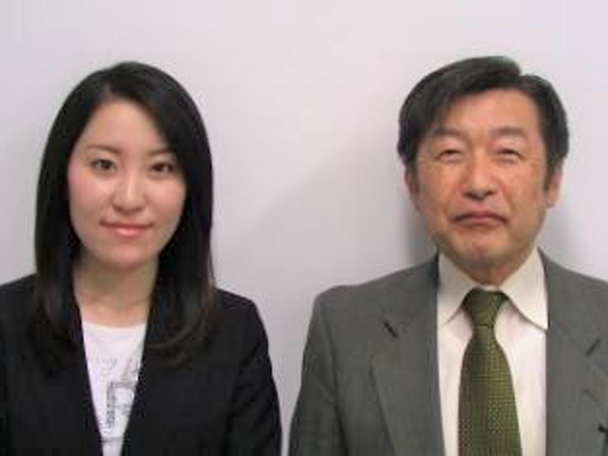 石上 七鞘氏(国際教養学科教授) 須田 新菜さん(国際教養学科 3年)